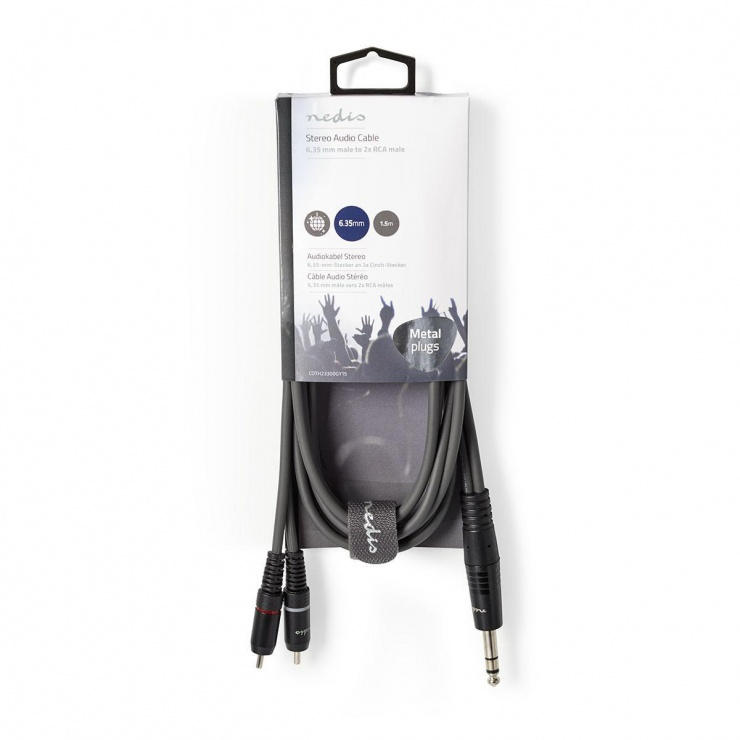 Imagine Cablu audio jack stereo 6.35mm la 2 x RCA T-T 1.5m Gri, Nedis COTH23300GY15