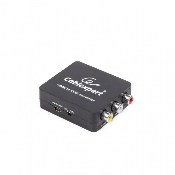 Imagine Convertor HDMI la 3 x RCA Composite video + audio Full HD, Gembird DSC-HDMI-CVBS-001