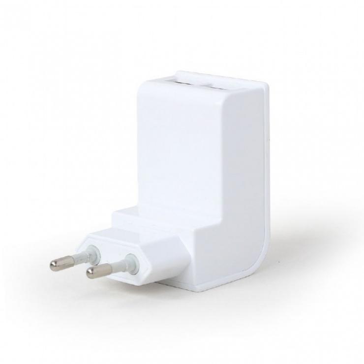 Imagine Incarcator priza 2 x USB 2.1A Alb, Energenie EG-U2C2A-02-W