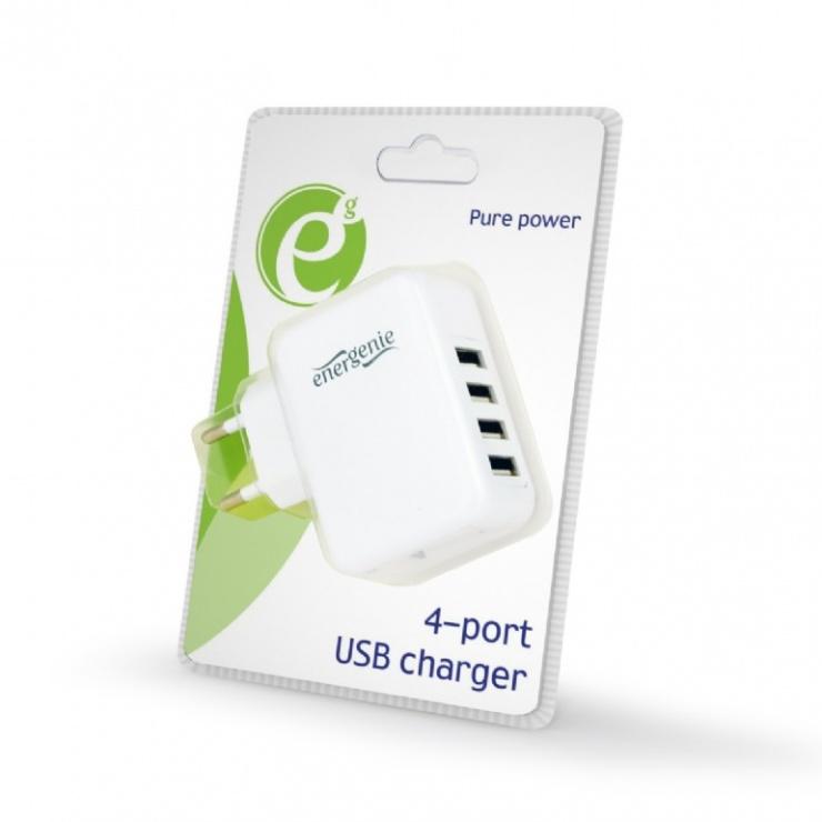 Imagine Incarcator priza 4 x USB 3.1A Alb, Energenie EG-U4AC-02