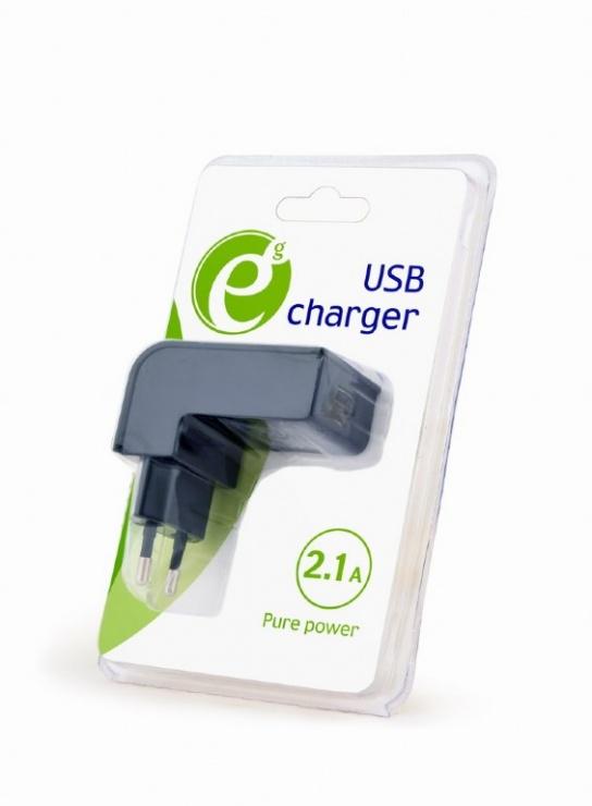 Imagine Incarcator priza 2 x USB 2.1A Negru, Gembird EG-UC2A-02
