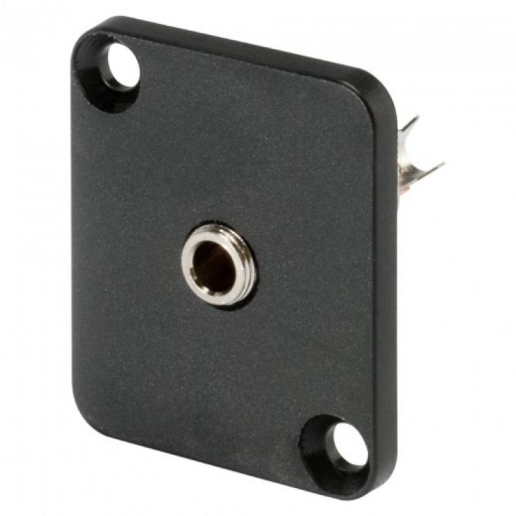 Imagine Conector jack stereo 3.5mm 3 pini mama tip D montare masa/panou, HICON HI-J35SEFD
