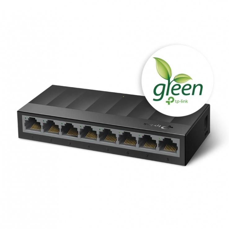 Imagine Switch Desktop LiteWave 8 porturi Gigabit Negru, TP-LINK LS1008G