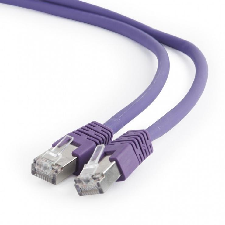 Imagine Cablu de retea RJ45 SFTP cat 6A LSOH 0.25m Mov, Gembird PP6A-LSZHCU-V-0.25M