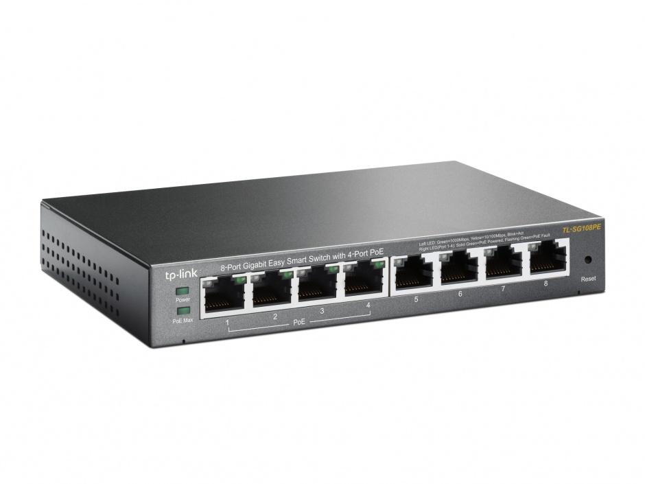 Imagine Switch 8 Porturi 10/100/1000M (4 porturi PoE). Gigabit, carcasa metal TP-LINK TL-SG108PE