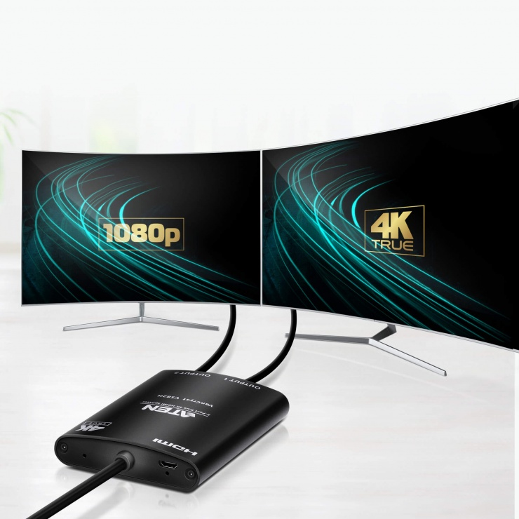 Imagine Multiplicator HDMI 2 porturi True 4K, ATEN VS82H