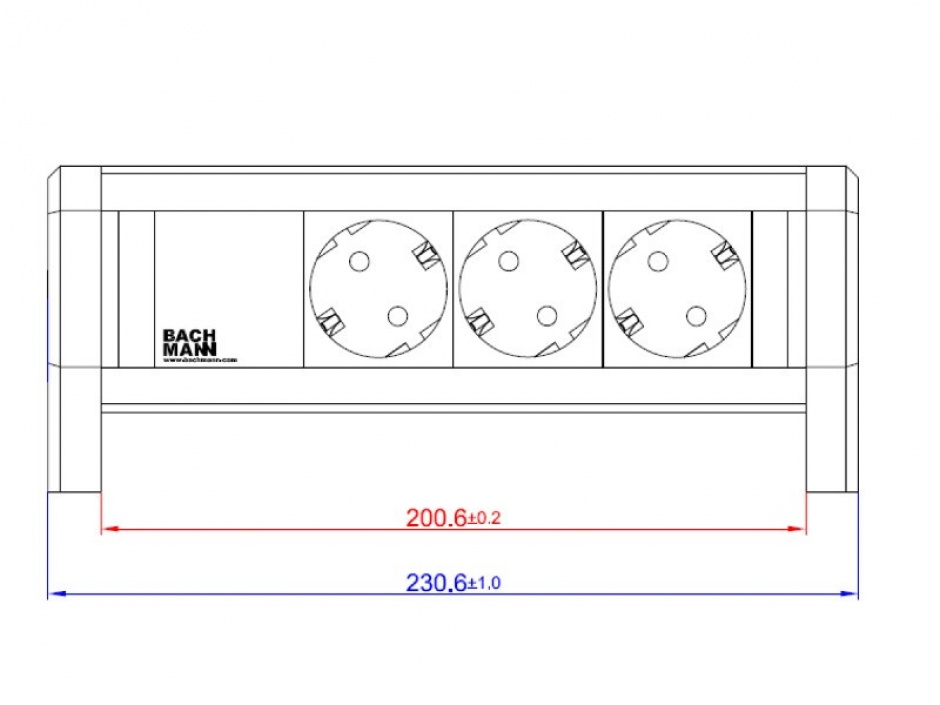 Imagine Priza birou cu 3 x Schuko la GST18 Negru, Bachmann 339.1002