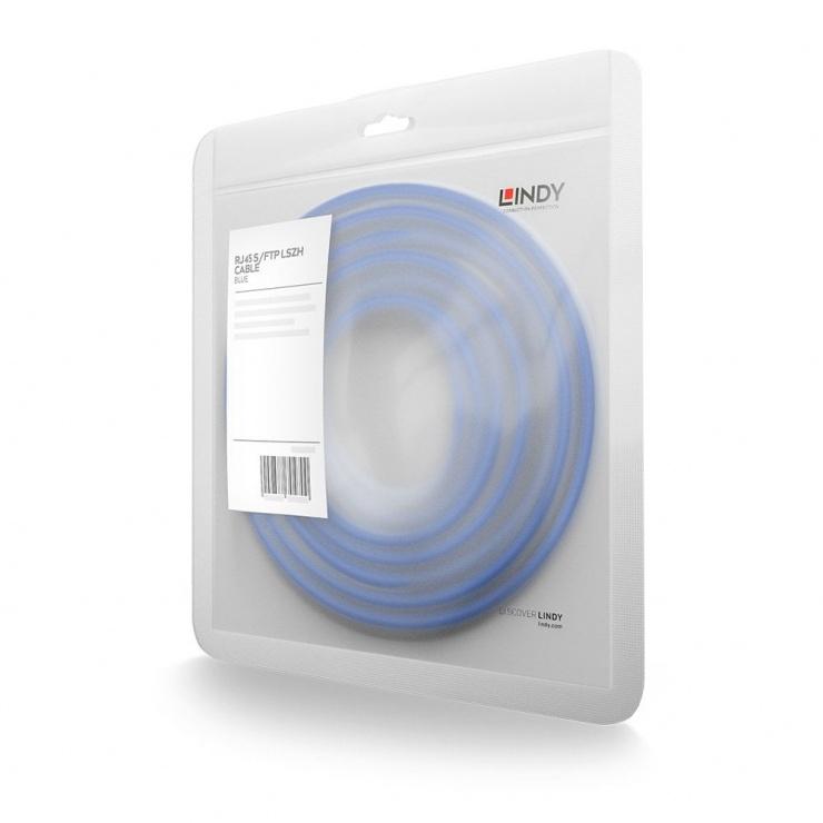 Imagine Cablu de retea S/FTP cat 7 LSOH cu mufe RJ45 Albastru 2m, Lindy L47279