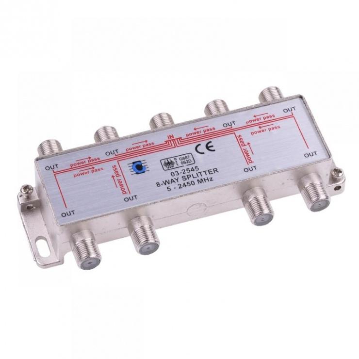 Imagine Splitter coaxial (antena tv) 8 porturi 5-2450 MHZ, ZLA0639