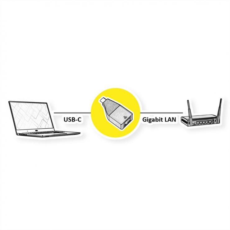 Imagine Adaptor GOLD USB 3.2 Gen 2 la Gigabit LAN, Roline 12.02.1111