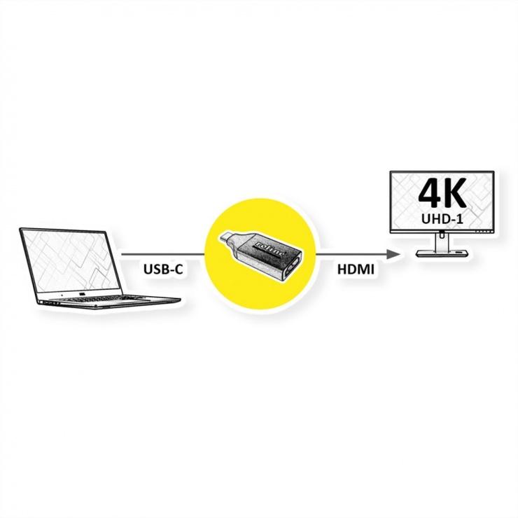 Imagine Adaptor USB-C la HDMI 4K@60Hz T-M, Roline 12.03.3226