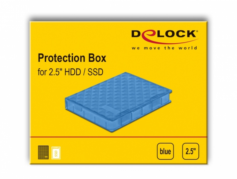 """Imagine Carcasa de protectie pentru HDD / SSD 2.5"""" Albastru, Delock 18369"""