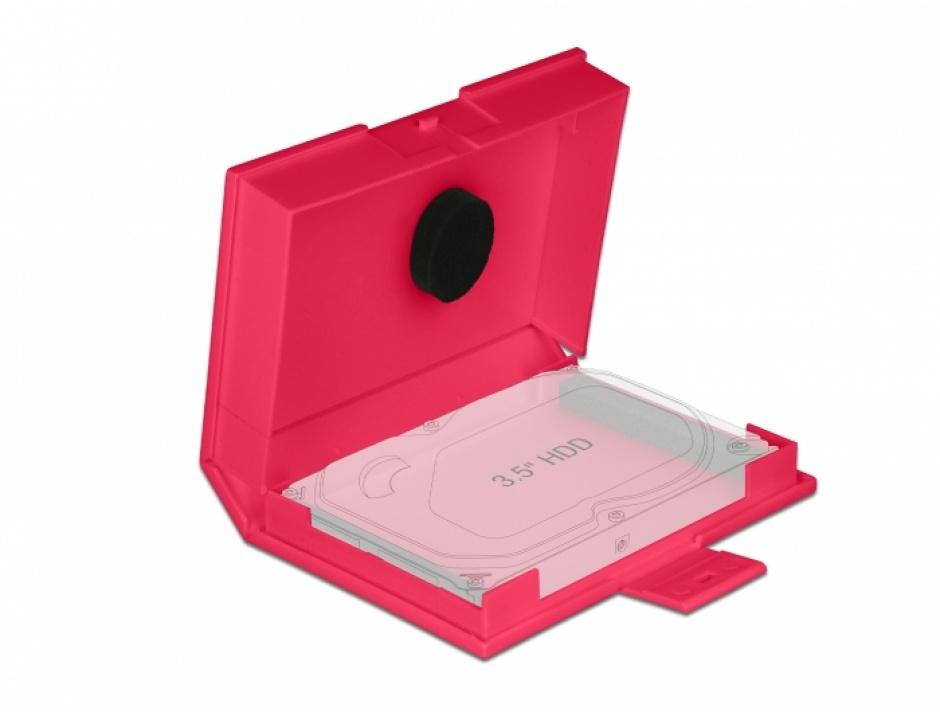 """Imagine Carcasa de protectie pentru HDD / SSD 3.5"""" Rosu, Delock 18374"""