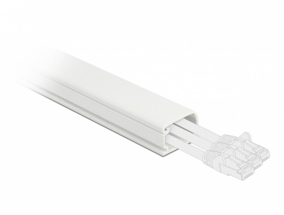 Imagine Canal cablu PVC 26 x 13 mm - 1m Alb, Delock 20721