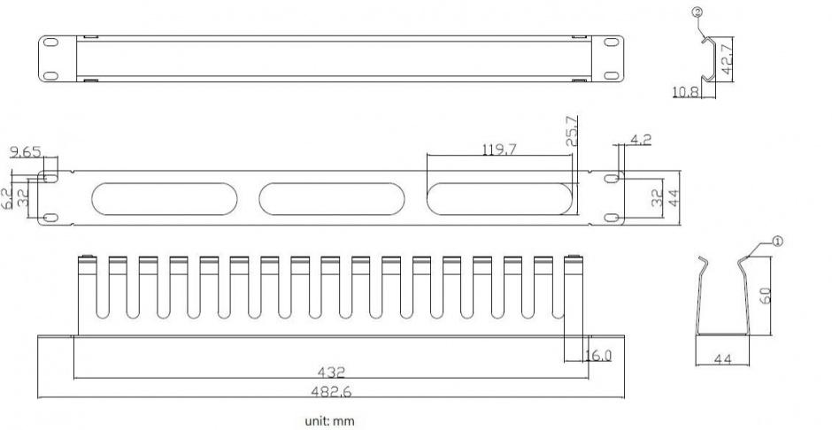 "Imagine Front Panel 19"" 1U cu organizator pentru cabluri 40x60mm RAL7035 Negru, Value 26.99.0305"