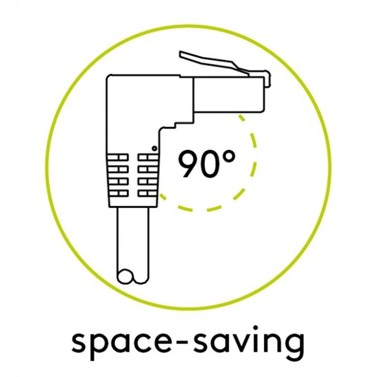 Imagine Cablu de retea cat 6A SFTP LSOH cu 1 unghi 90 grade 0.5m Negru, Goobay G51556