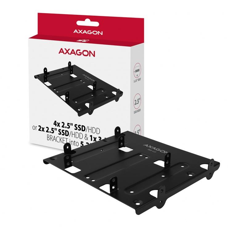 "Imagine Installation frame 5.25"" pentru 4 x 2.5""/2x2.5""+1x3.5"", AXAGON RHD-435"