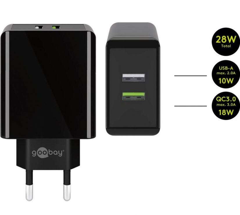 Imagine Incarcator priza 2 x USB-A Quick Charge 3.0 2A/28W Negru, Goobay 44956