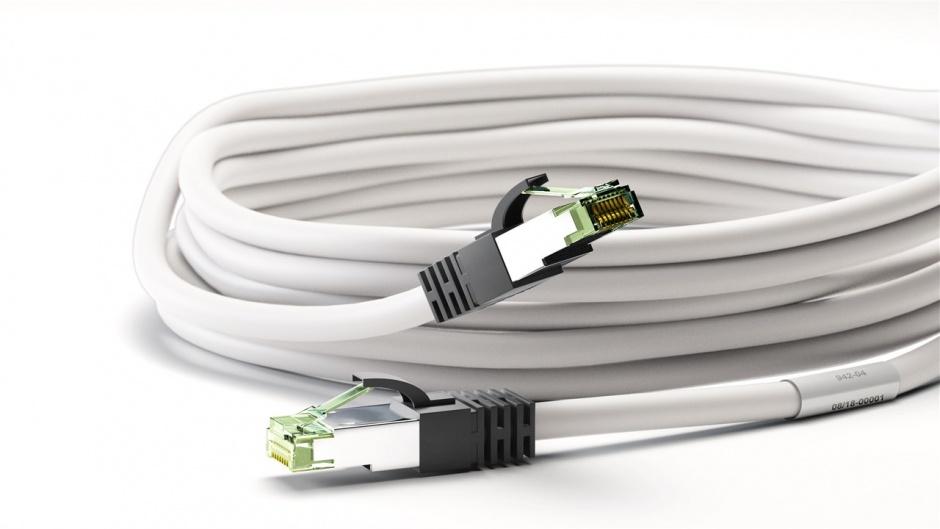 Imagine Cablu de retea RJ45 S/FTP CAT 8.1 cu mufe CAT 6A 25m Alb, Goobay G55132