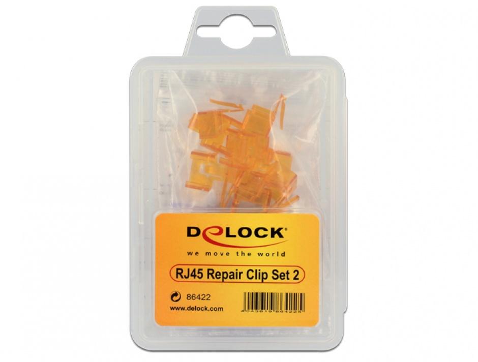 Imagine Set 40 buc clips pentru repararea cablului de retea, Delock 86422