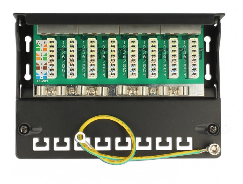 Imagine Patch panel 8 porturi Cat.6A FTP Negru, Delock 87674