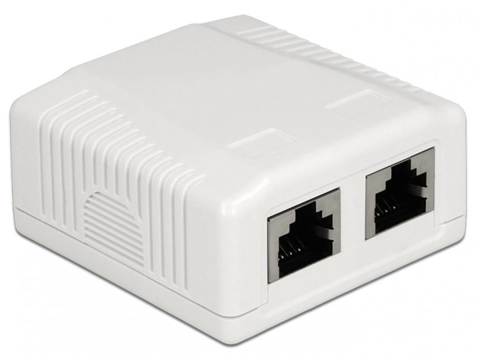 Imagine Priza aplicata 2 porturi cat 6A STP LSA, Delock 86197
