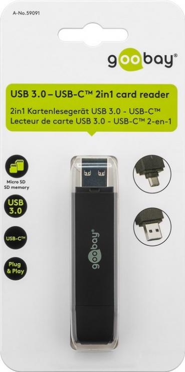 Imagine Cititor de carduri USB 3.0-A + type C la micro SD/SD, Goobay W59091