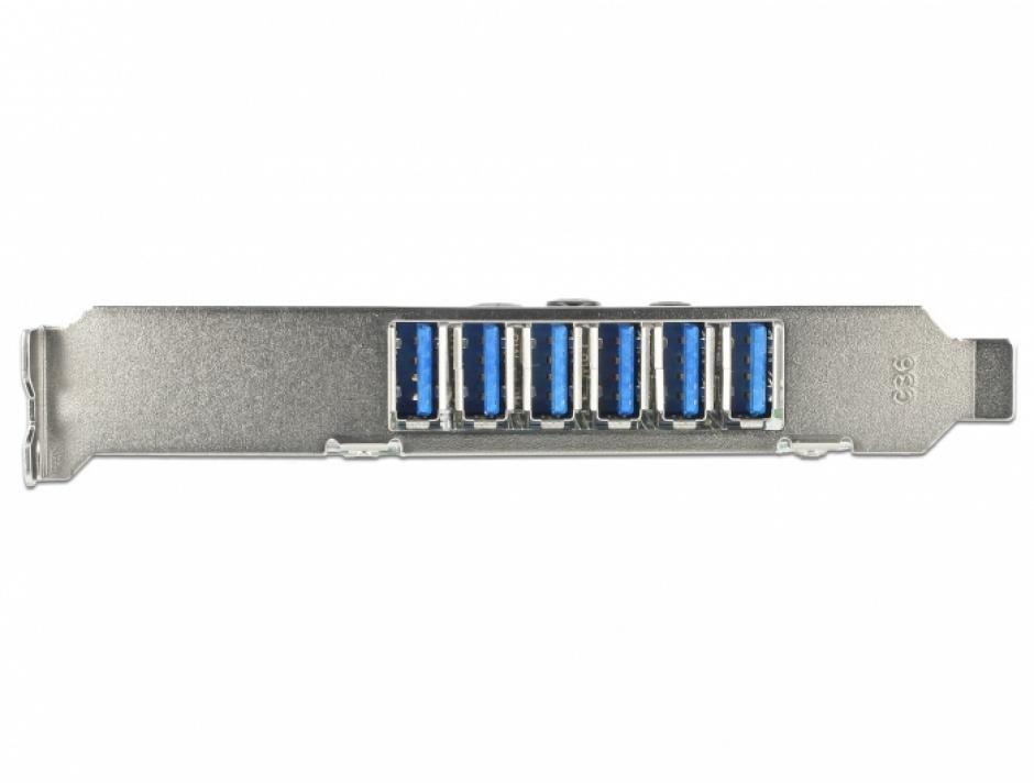 Imagine PCI Express cu 6 x USB 3.0-A externe + 1 x USB 3.0-A intern, Delock 89377