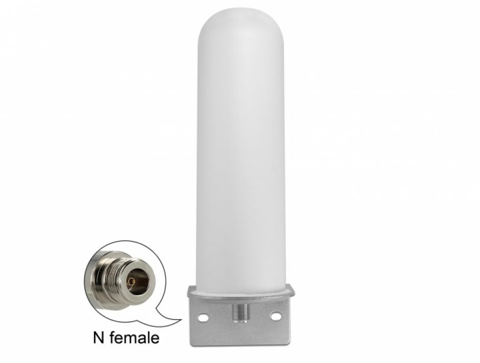 Imagine Antena LTE (Lora) N jack 4 - 6 dBi 22 cm omnidirectionala fixa exterior, Delock 12571
