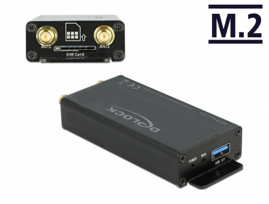 Imagine Convertor USB 3.0 pentru M.2 Key B cu slot SIM si enclosure, Delock 63172