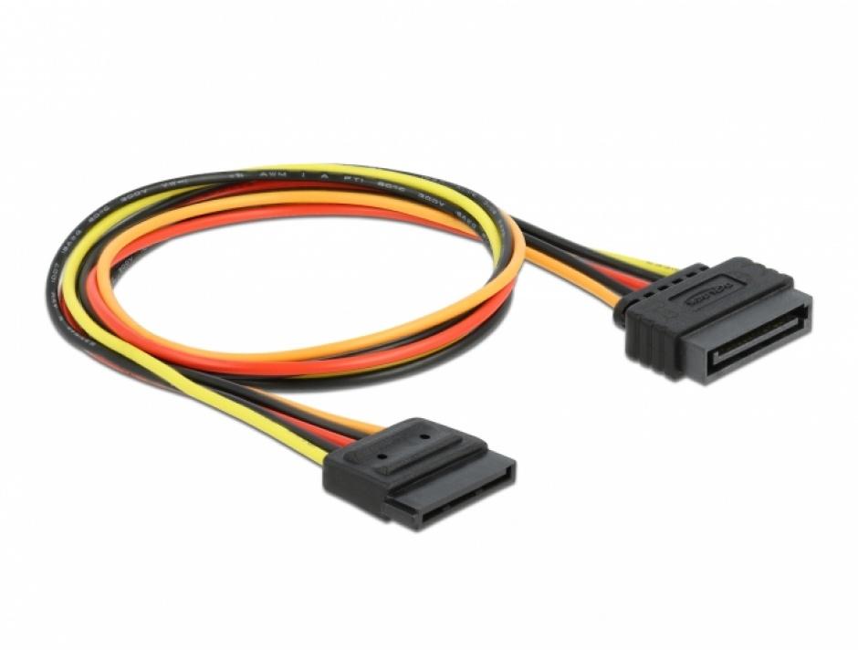 Imagine Cablu prelungitor alimentare SATA 15 pini 50cm, Delock 60132