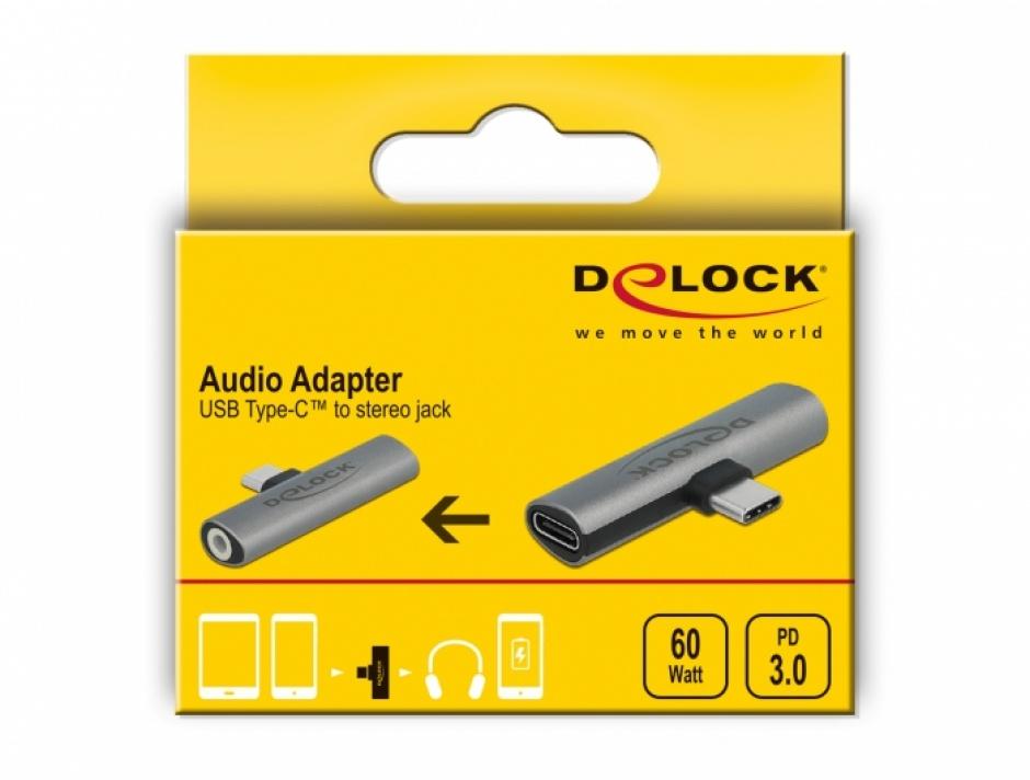 Imagine Adaptor USB type C la jack stereo 3.5mm + USB type C PD 20V/3A/60W, Delock 64113