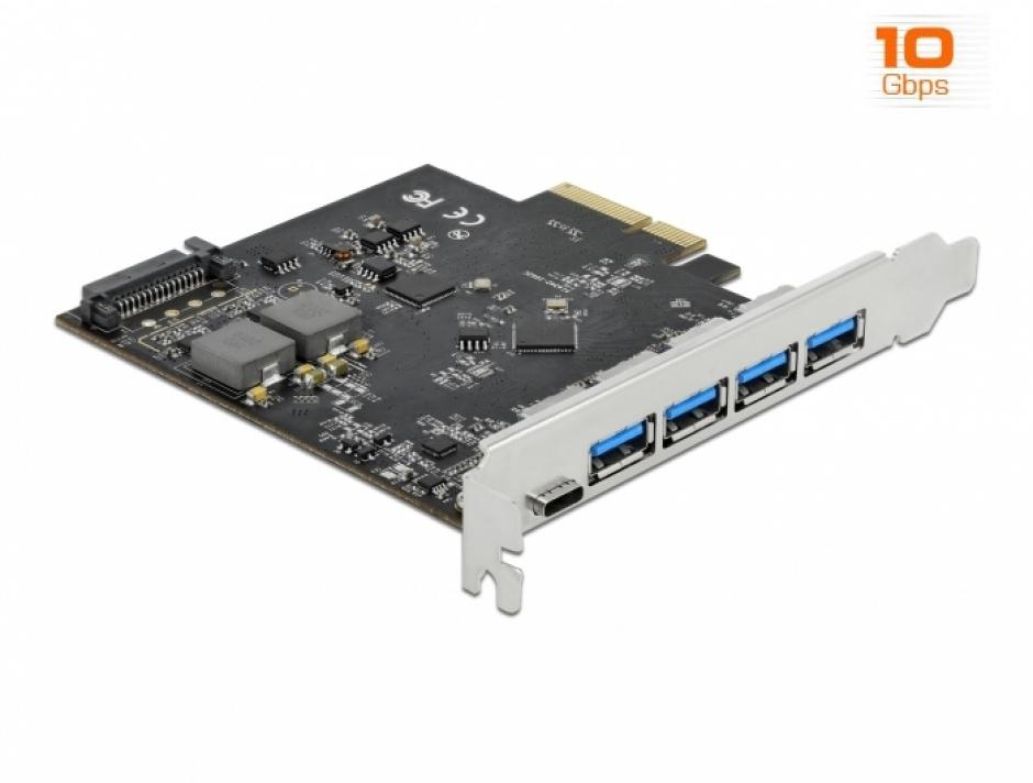 Imagine PCI Express x4 cu 1 x USB 3.2 Type-C + 4 x USB-A, Delock 89026