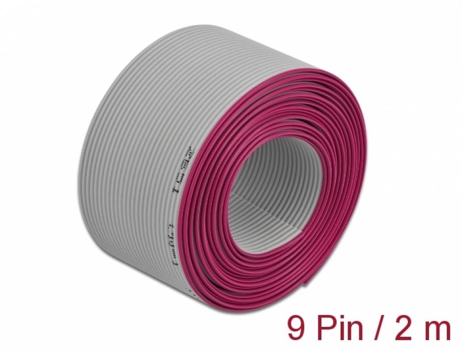 Imagine Cablu plat/flat pentru D-SUB 9 pini/pitch 1.27mm 2m, Delock 66605