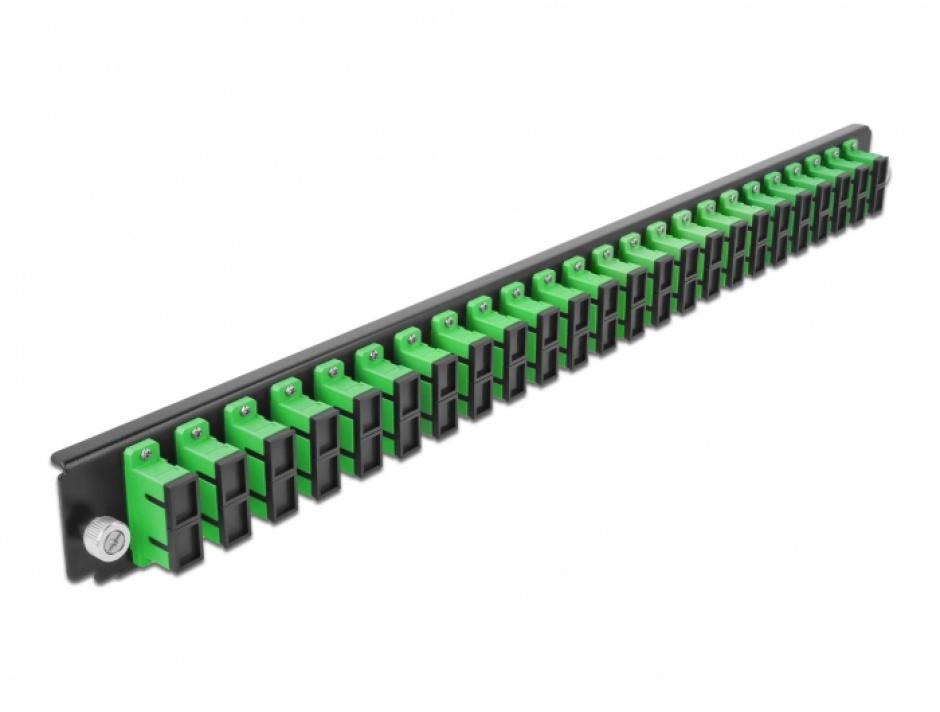 """Imagine Panou 19"""" pentru carcasa 24 porturi SC Duplex OS2 verde, Delock 43364"""