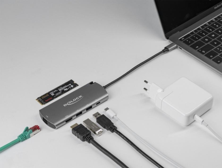 Imagine Docking station USB-C la 4K HDMI / USB / LAN / PD 3.0 + M.2 SATA SSD, Delock 87767