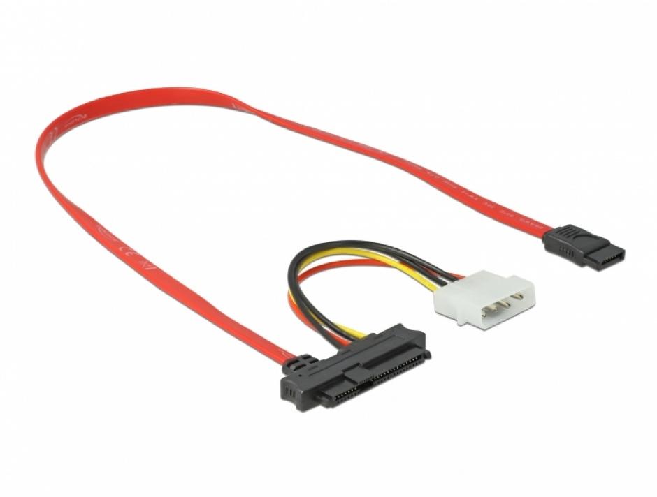 Imagine Cablu SAS SFF-8482 + Alimentare la SATA 7 pini 0.5m, Delock 82219