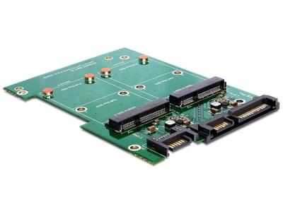 """Imagine Convertor SATA 22 pini + 7 pini la 2 x mSATA frame 3.5"""", Delock 62480-1"""