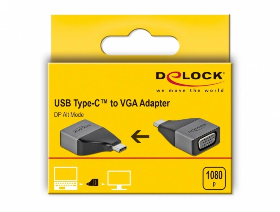 Imagine Adaptor USB 3.2-C Gen1 la VGA (DP Alt Mode) 1080p, Delock 64002