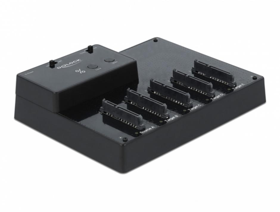 Imagine Docking station USB 3.0 la 5 x SSD/HDD SATA cu functie de clona, Delock 64098
