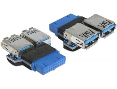 Imagine Adaptor USB 3.0 pin header M la 2 x USB 3.0 M, Delock 65324