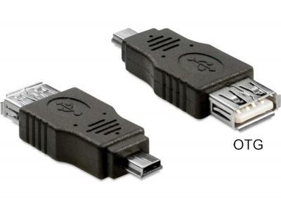 Imagine Adaptor mini USB la USB 2.0 T-M OTG, Delock 65399