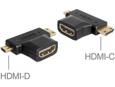 Imagine Adaptor HDMI la mini-C HDMI + micro-D HDMI, Delock 65446