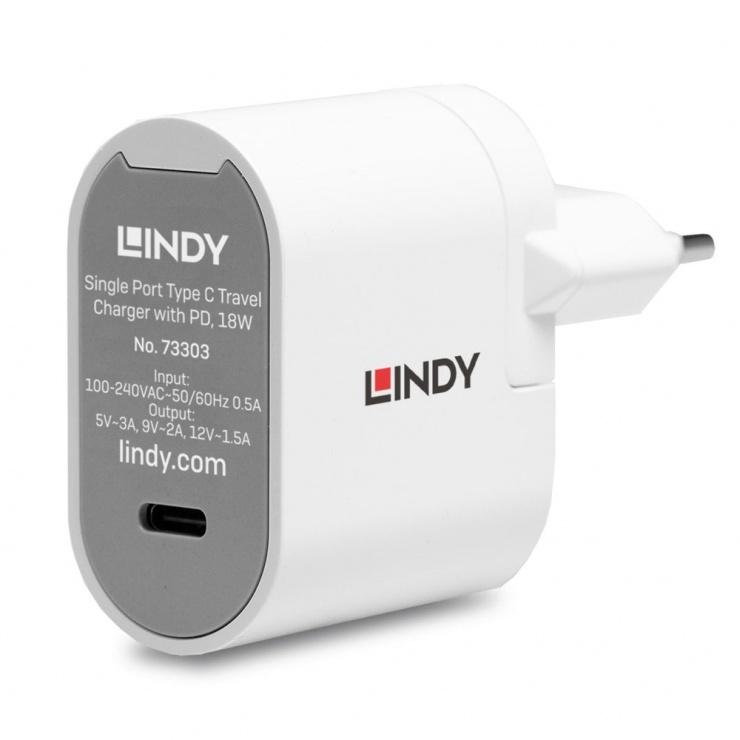 Imagine Incarcator priza 1 x USB-C cu PD 3A/18W + adaptoare universale, L73303