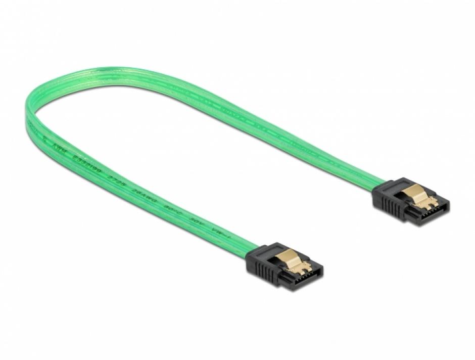 Imagine Cablu SATA III 6 Gb/s UV glow effect 50cm Verde, Delock 82069