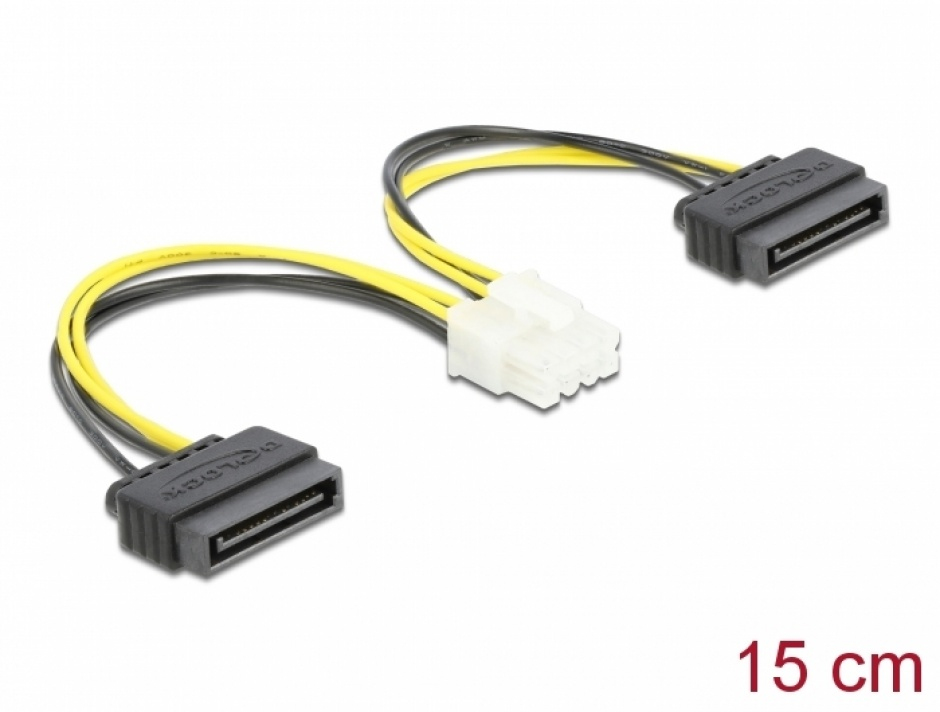 Imagine Cablu de alimentare 8 pini EPS la 2 x SATA 15cm, Delock 83020