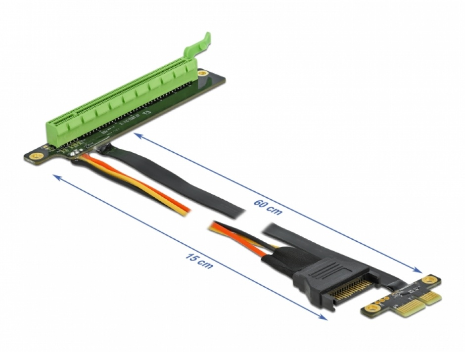 Imagine Riser Card PCI Express x1 la x16 + cablu flexibil 80cm, Delock 85763