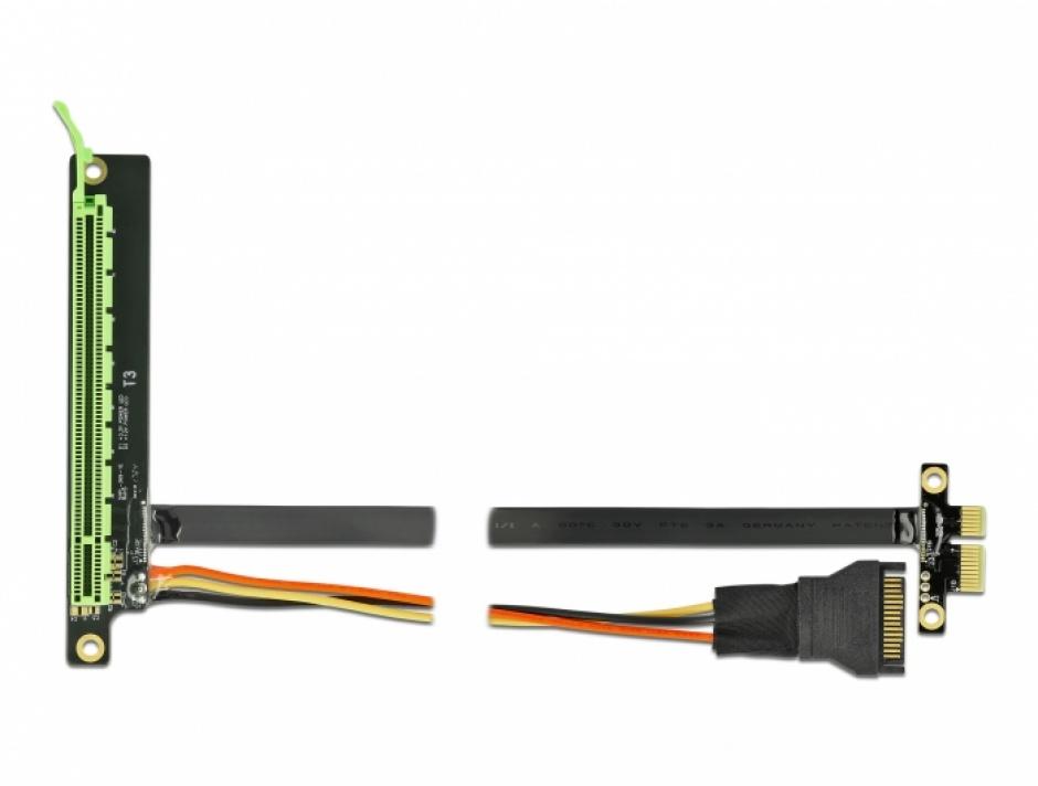 Imagine Riser Card PCI Express x1 la x16 + cablu flexibil 80cm, Delock 85763
