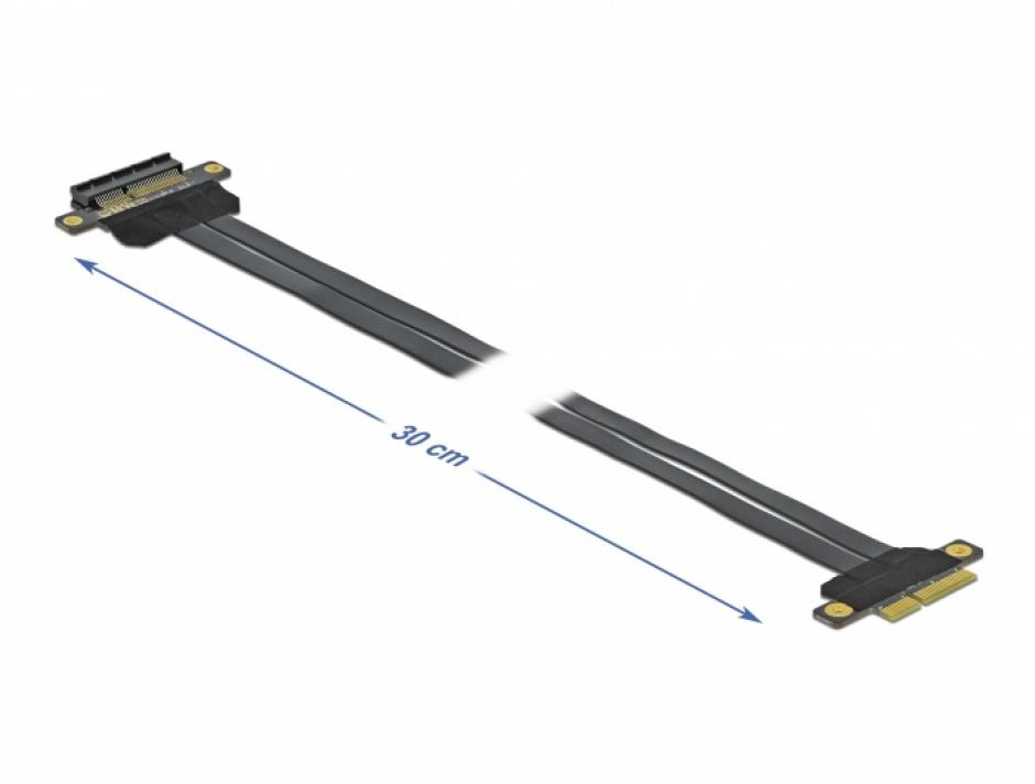 Imagine Riser Card PCI Express x4 la x4 + cablu flexibil 30cm, Delock 85768