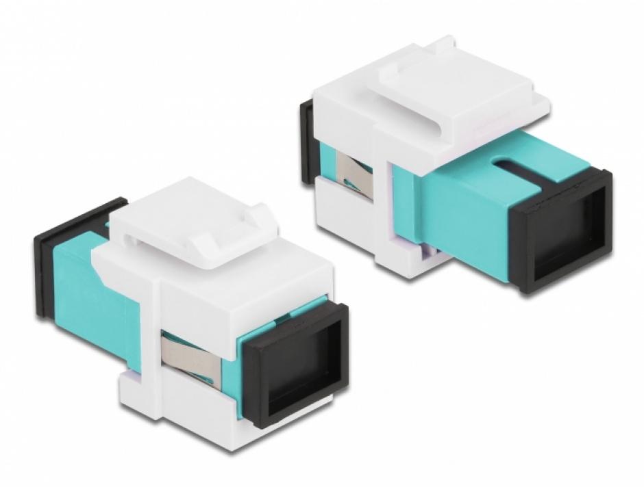 Imagine Keystone fibra optica SC Simplex Multi mode M-M Aqua/Alb, Delock 86716